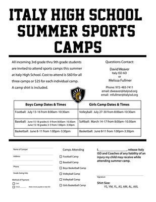 Image: All incoming 3rd grade thru 9th grade students are invited to attend sports camps this summer at Italy High School. NOTE: Enlarge image and select 'Fit to Page' before printing form.
