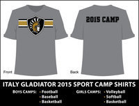 Image: All incoming 3rd grade thru 9th grade students (Boys and Girls) participating in any 2015 Italy High School Summer Sport Camps will receive a 2015 Camp Tshirt.
