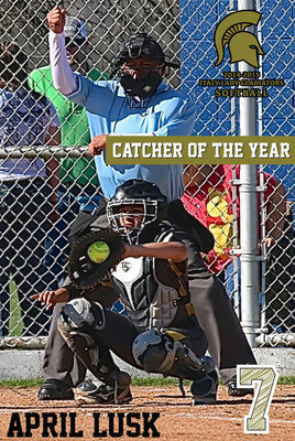 Image: Italy Lady Gladiator catcher April Lusk(7) earned the district's Catcher of the Year superlative and also achieved Academic All-District.