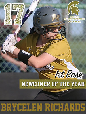 Image: Italy Lady Gladiator 1st Baseman Brycelen Richards(17) earned the district's Newcomer of the Year superlative and also achieved Academic All-District.