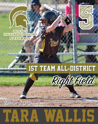 Image: Italy Lady Gladiator senior right fielder Tara Wallis(5) battled thru a knee injury to earn 1st Team All-District honors and also achieved Academic All-District.