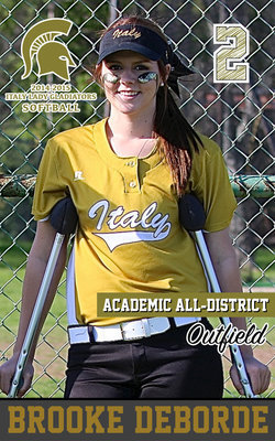 Image: Italy Lady Gladiator outfielder Brooke DeBorde(2) was sidelined early with a leg injury but was always supportive in the dugout. DeBorde still managed to achieve Academic All-District.