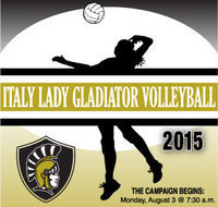 Image: All incoming 9th thru 12th grade girls who are interested in playing Italy Lady Gladiator Volleyball need to report to the old gym on Monday, August 3, at 7:30 a.m. Each girl must have a current physical to be able to practice. Girls are to wear a solid white t-shirt and black shorts.  Please make sure to have a pair of running shoes.