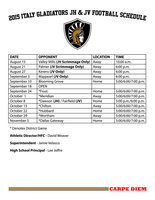Image: 2015 Italy Gladiator JV and Jr. High Football Schedule. Click image to enlarge then select 'Fit To Page' before printing.