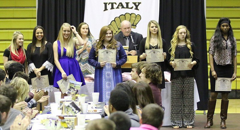 Image: Coach Johnny Jones recognizes the JV Girls Cross-Country team, which consisted of: Britney Chambers, Ashlyn Jacinto, Hannah Washington, Reagan Jones, Brooke DeBorde, Brycelen Richards and Janae Robertson.