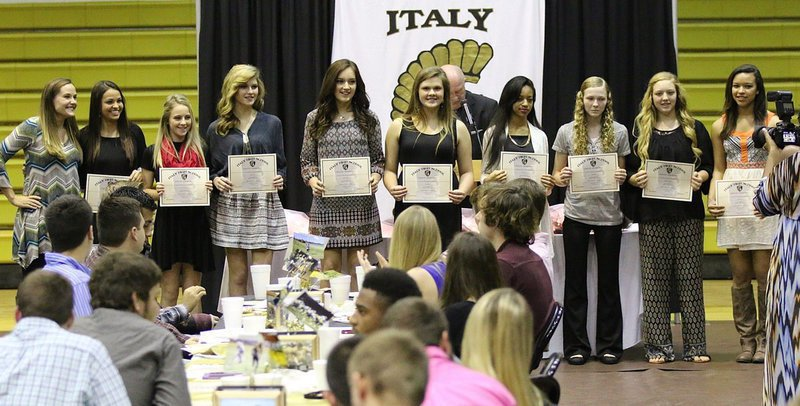 Image: Varsity Cross-Country All-District Award winners were Coach Holly Bradley, Ashlyn Jacinto, Britney Chambers, Halee Turner, Jozie Perkins, Lillie Perry, T'Keya Pace, Taylor Boyd, Brycelen Richards and April Lusk.