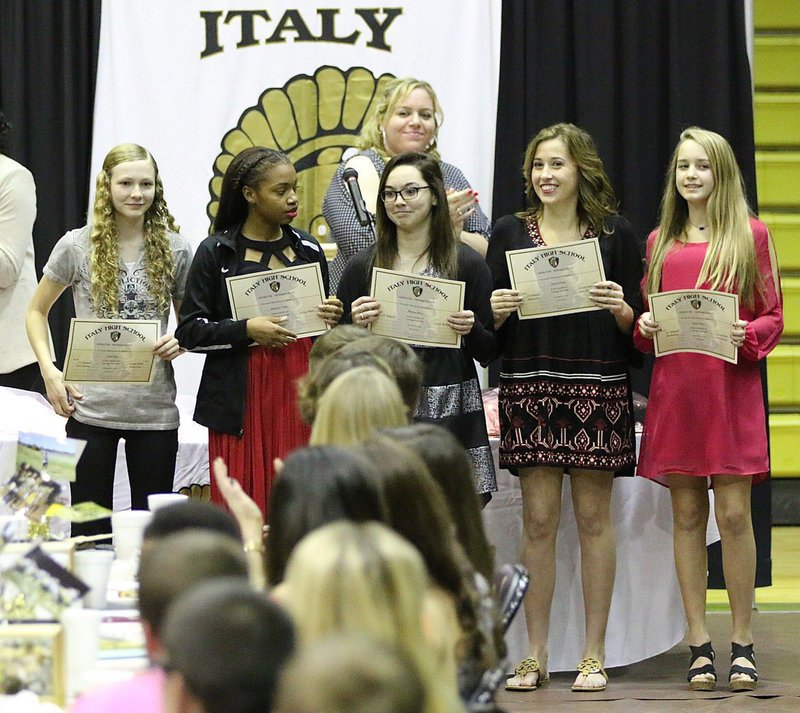 Image: JV Volleyball members recognized by Coach Melissa Fullmer were Taylor Boyd, Chardanae Talton, Madison Galvan, Hannah Haight and Karley Nelson.