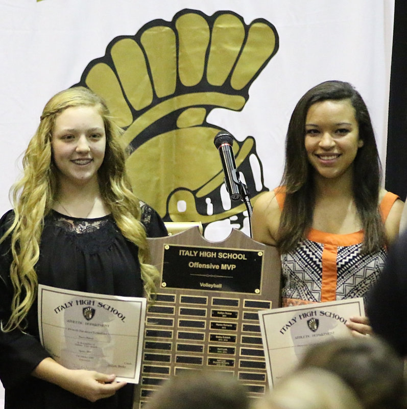 Image: Brycelen Richards, a freshman, and April Lusk, a junior, share the Italy Lady Gladiator Volleyball Co-Offensive MVP Award.