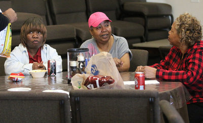 Image: Linda Kay ,Willie Fay Young and Connie Singleton just savored their chili samples while having a cup of fellowship on the side.