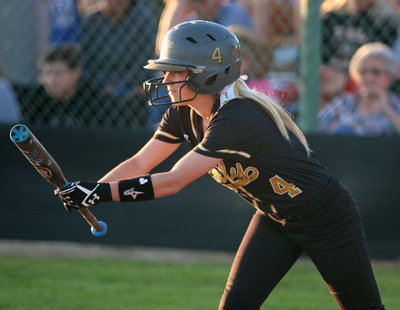 Image: Wise team veteran and senior Britney Chambers(4) shows bunt….but will she bunt?