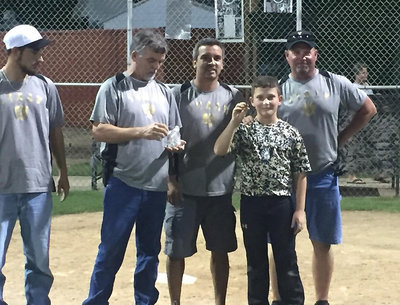 Image: Chance Shaffer is presented with his tournament championship ring from Italy coaches Tony Wooldridge, Gary Wood, Sal Ramirez and Jay Hellner.