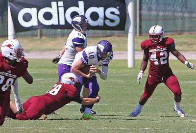 Image: Sophomore Season: A sophomore back in 2015, Austin College nose guard #68 Zain Byers recorded his second collegiate sack against the SAGU Lions.