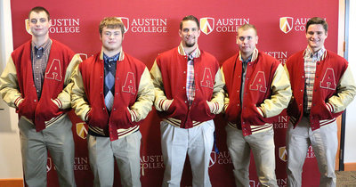 Image: Sophomore Season: Sporting their official Austin College Kangaroo letterman Jackets were sophomores' Eric Summerlin, Denton Texas / Ryan, Zain Byers, Italy, Texas, R.J. Melton, Electra, Texas / Electra, Cooper Gross, Tulsa, Okla. / Holland Hall, and Shane Brooks, Waco, Texas / Reicher Catholic. The jackets are awarded to players who have been in the Kangaroo football program for two seasons.