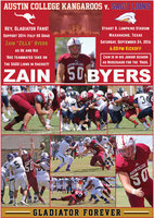 "Image: Show your support for 2014 Italy High School graduate #50 NG Zain ""Zilla"" Byers and his Austin College Kangaroo teammates who will be taking on the SAGU Lions at Waxahachie's Stuart B. Lumpkins Stadium on Saturday, September 24. Kickoff set for 6:00 p.m."