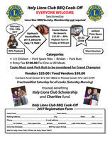 Image: Attached is information and registration form for the annual Italy Lions Club BBQ Cook-off planned for February 17-18, 2017. Click image to enlarge and then click 'Fit To Page' before printing.