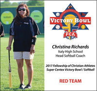 Image: Italy High School head softball coach Tina Richards selected as part of the RED team coaching staff for the 2nd Annual 2017 Fellowship of Christian Athletes Victory Bowl Softball Game. The game will be played at the University of Mary-Hardin Baylor (UMHB) on Friday, June 9, starting at 6:30 p.m. following the end of an uplifting week of practices, service projects.