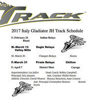 Image: Italy Gladiators' 2017 Junior High Track Schedule.