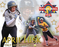 Image: Italy High School senior softball student-athlete April Lusk has recently been selected to participate in the 2nd Annual 2017 Fellowship of Christian Athletes Super Centex Victory Bowl All-Star Softball Game, as a member of the RED team. The game will be played at Waco's University of Mary-Hardin Baylor (UMHB) on Friday, June 9, in Belton, starting at 6:30 p.m. following the end of an uplifting week of practices and service projects.