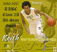 Image: Keith Davis II joins elite list of Italy Gladiator All-State basketball players as he now resides with his father, Keith Davis (All-State 1997), in the Italy Gladiator Basketball Hall of Fame. Davis II also earned 2016-2017 TABC Class 2A All-Region honors as well.