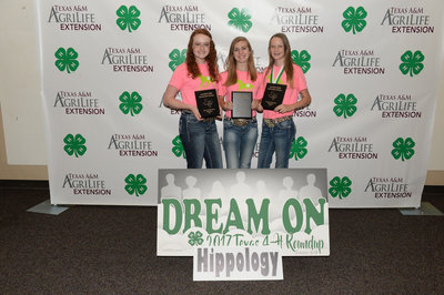 Image: The Silver Spurs team of Sadie Hinz, Autumn Wells and Gentry Rogers won 2nd in State Hippology at the State 4-H Round Up.