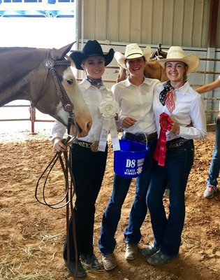 Image: Silver Spur riders swept Stock Horse Horsemanship! From left, Autumn Wells of Waxahachie in 3rd, Maegen Newsom of Ennis in 1st, and Parys Bishop of Avalon in 2nd.