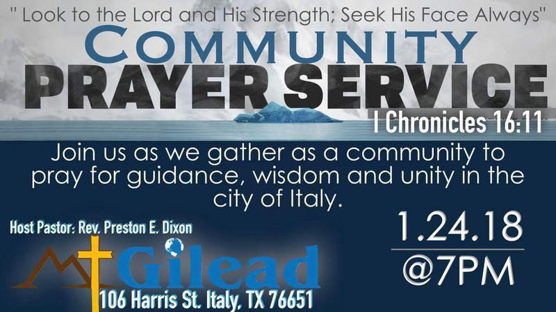 2nd Italy Community Prayer Vigil planned for Wednesday, January 24th