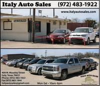 Image: Italy Auto Sales is conveniently located near the intersection of Hwy 34 and Hwy 77 and specializes in selling pre-owned cars, SUVs. and trucks. Open Monday – Saturday from 10:00 a.m. – 6:00 p.m. Call: 972-483-1922 to get the wheels turning!